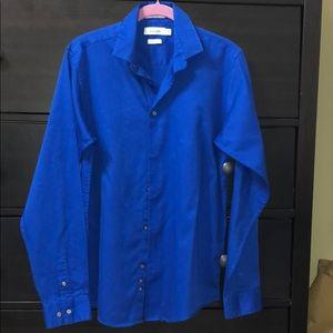Calvin Klein Royal Blue Sateen Shirt